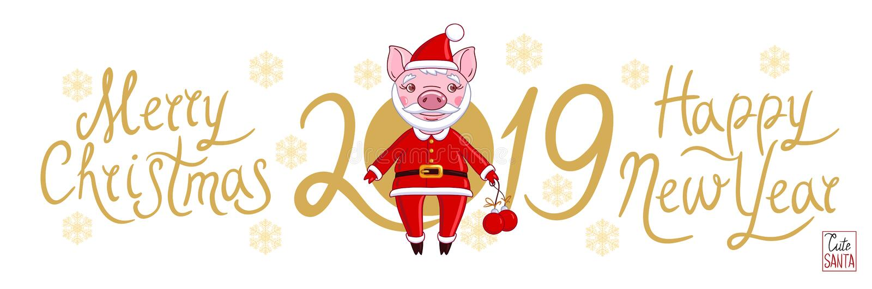 Cochinillo en el papel del texto blanco 2019 del fondo de Santa Claus ilustración del vector