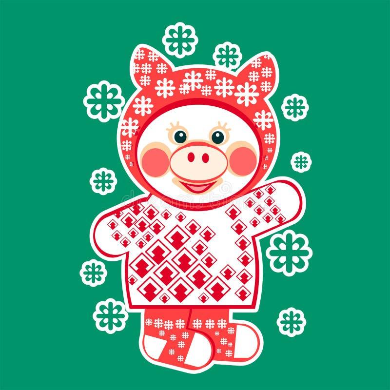 Cochinillo en ropa y copos de nieve del invierno stock de ilustración