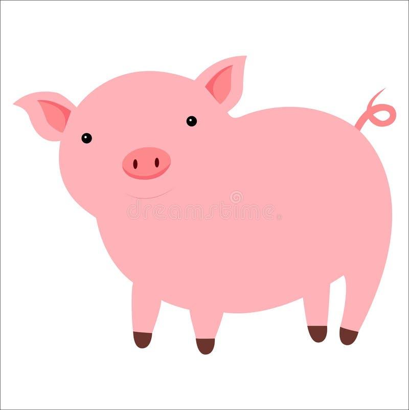 Cochinillo pequeño, lindo, rosado, aislado en el fondo blanco stock de ilustración