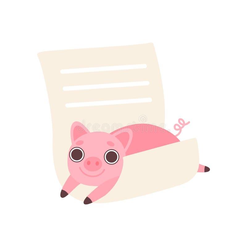 Cochinillo que miente en la hoja de papel alineada vacía, animal lindo de la historieta con el ejemplo en blanco del vector de la ilustración del vector