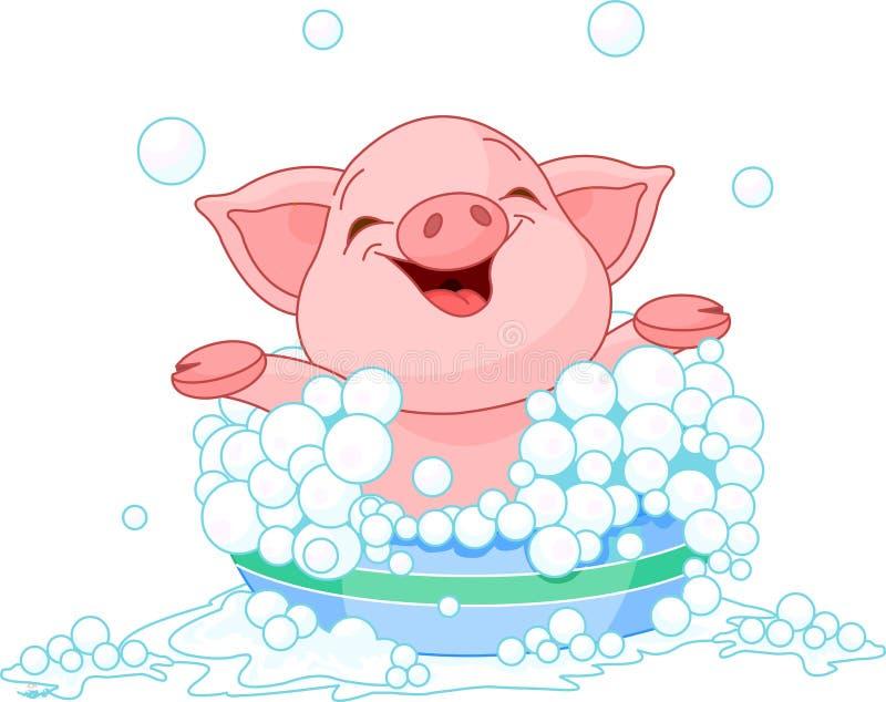 Cochinillo que toma un baño stock de ilustración