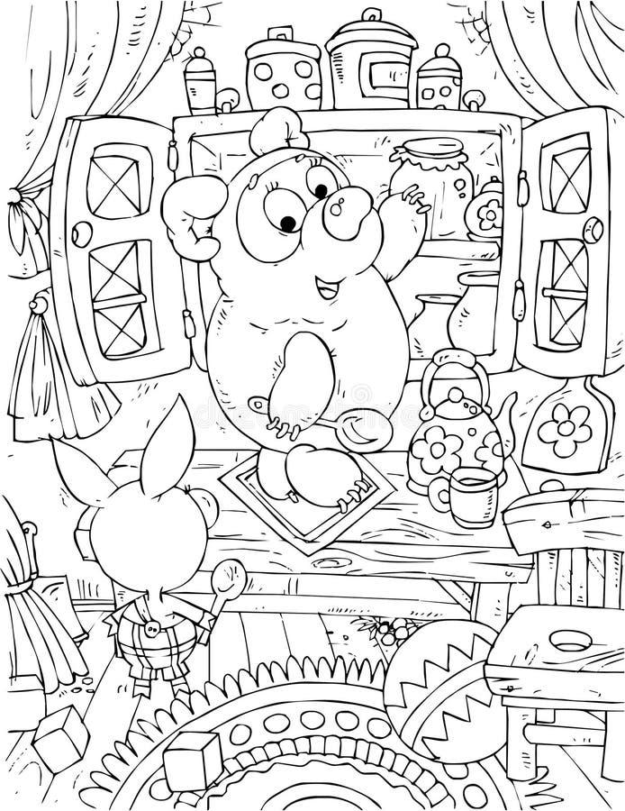 Cochinillo y Llevar-cachorro que se colocan delante de un sideboa stock de ilustración