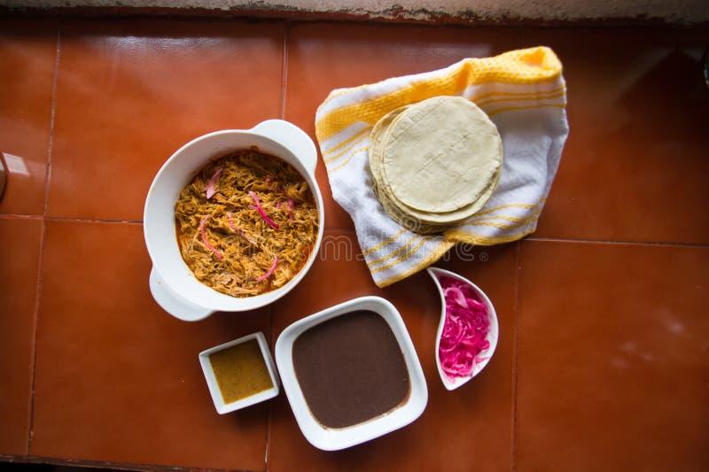 Cochinita-Bestandteile, zum von Tacos zuzubereiten stockfotografie