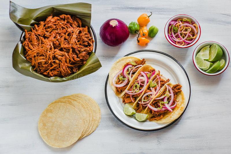 Cochinita Pibil, Mexican tacos Mayan cuisine from Yucatan Mexico royalty free stock images