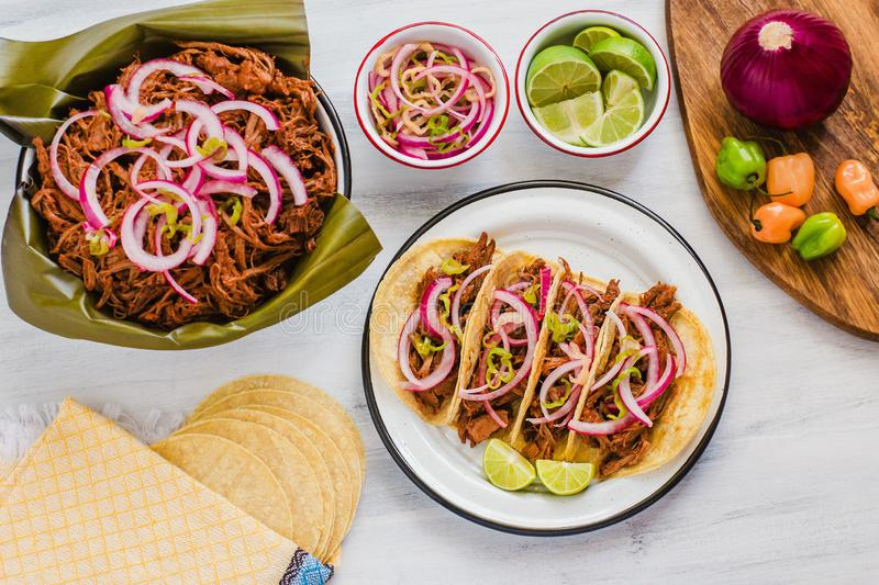 Cochinita Pibil, Mexican tacos Mayan cuisine from Yucatan Mexico. Traditional mexican food royalty free stock images