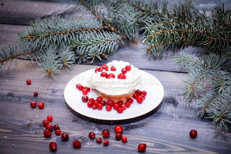 Coció recientemente la torta en una placa blanca adornada con las bayas rojas y la crema blanca azotada con una placa rematada co foto de archivo libre de regalías