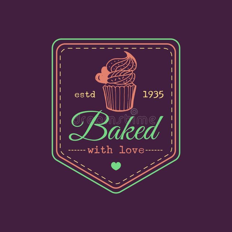 Cocido con el logotipo de la magdalena del vintage del amor Etiqueta de la panadería del vector Cartel tipográfico de la galleta  stock de ilustración