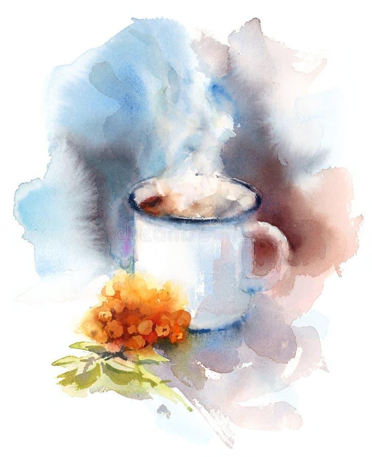 Cociendo a la taza al vapor caliente de Berry Tea Watercolor Illustration Hand dibujada libre illustration
