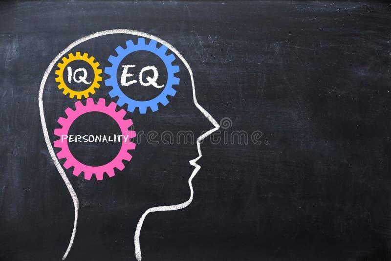 Cociente emocional y cociente de la inteligencia EQ y concepto del índice de inteligencia con forma y engranajes del cerebro huma fotografía de archivo