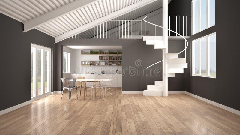 Cocina abierta del espacio del minimalist, blanca y gris con el entresuelo y escalera espiral moderna, desván con el dormitorio,  stock de ilustración