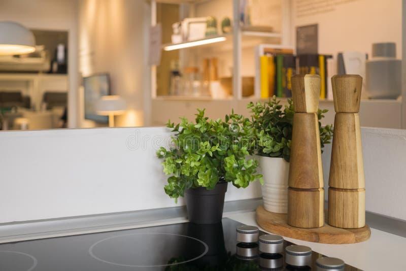cocina abierta moderna del plan con sala de estar fotos de archivo libres de regalías