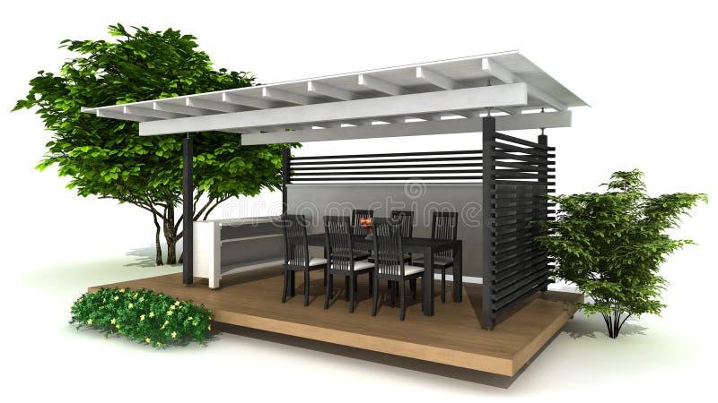 Cocina al aire libre ilustración del vector