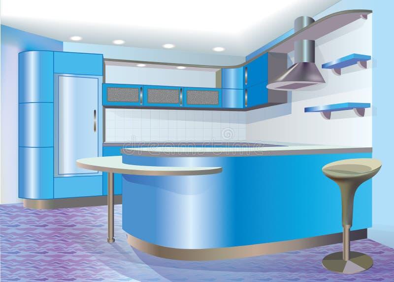 Cocina azul libre illustration