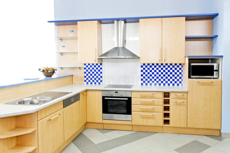 Cocina azul horizontal imágenes de archivo libres de regalías