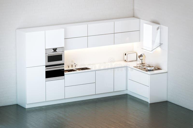 Cocina blanca de lujo en estilo minimalista stock de - Cocinas minimalistas blancas ...