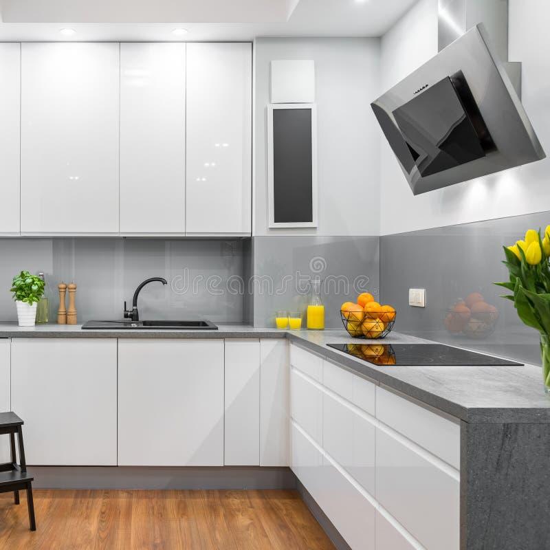 Cocina blanca en estilo moderno foto de archivo libre de regalías
