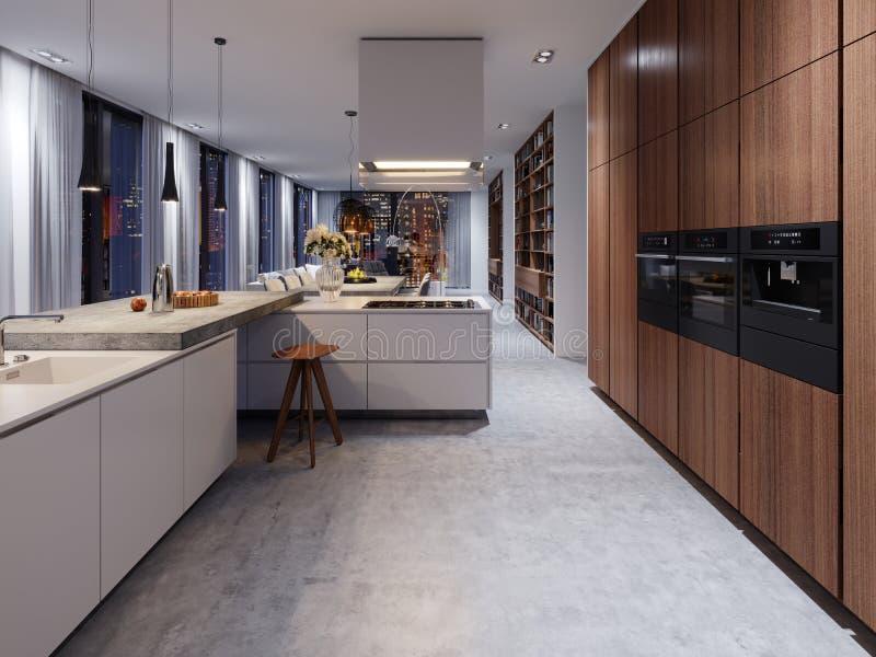 Cocina blanca escandinava en la igualación de la luz con la decoración, minimali libre illustration