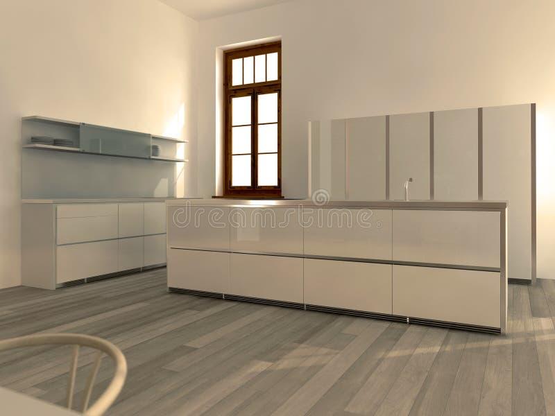 Cocina blanca moderna ilustración del vector