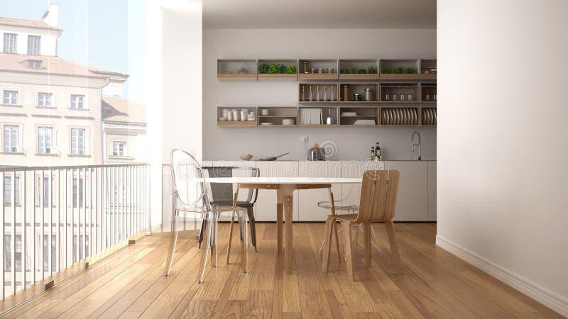 Cocina blanca y de madera minimalista con la mesa de comedor y la ventana panorámica grande Ciudad, viejo panorama de la ciudad e stock de ilustración