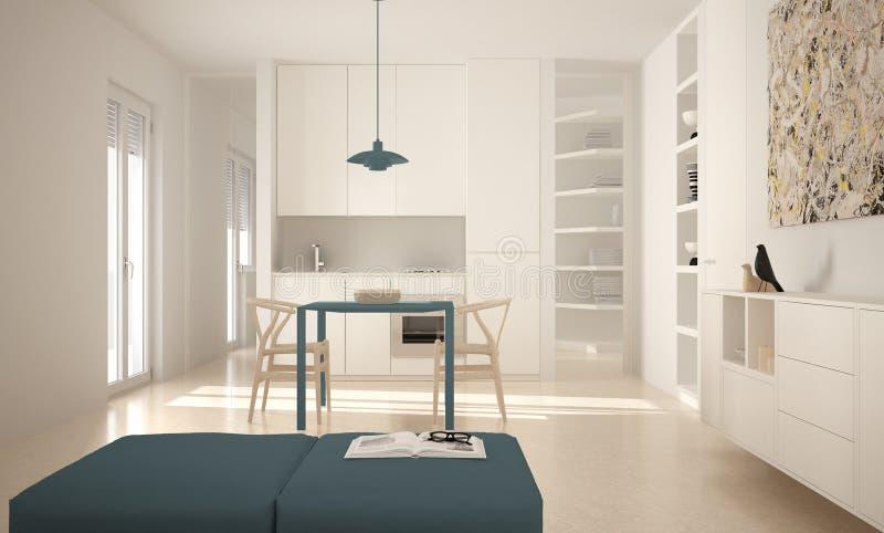 Cocina brillante moderna minimalista con la mesa de comedor y sillas, diseño interior grande de las ventanas, blanca y azul de la fotografía de archivo