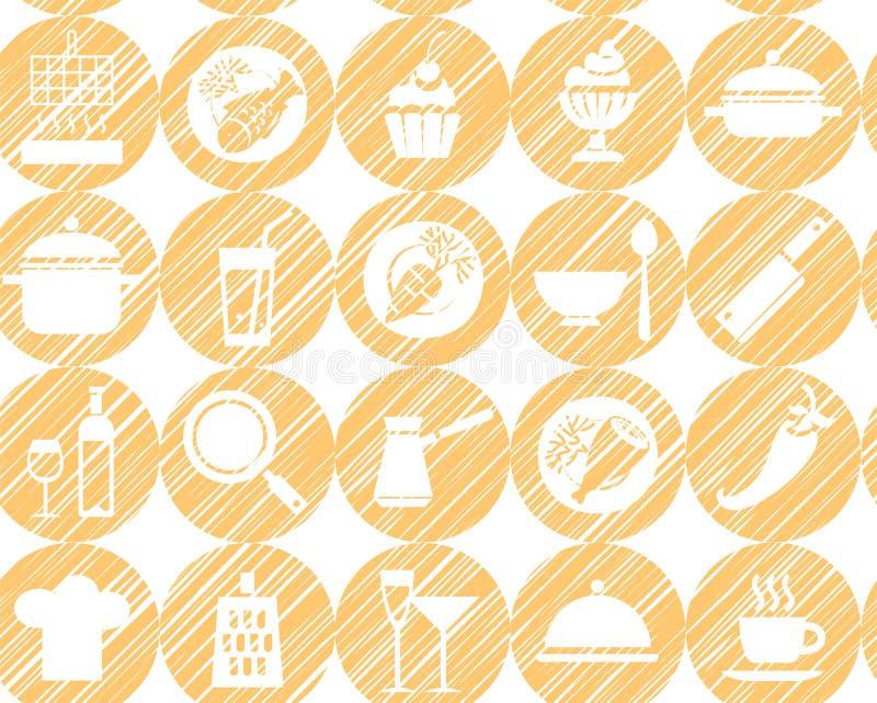 Cocina, cocinando, fondo, inconsútil, amarillo-naranja, vector libre illustration