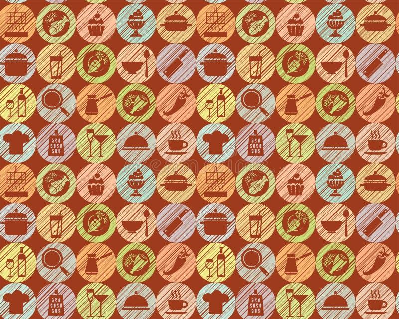 Cocina, cocinando, fondo marrón, inconsútil, vector libre illustration