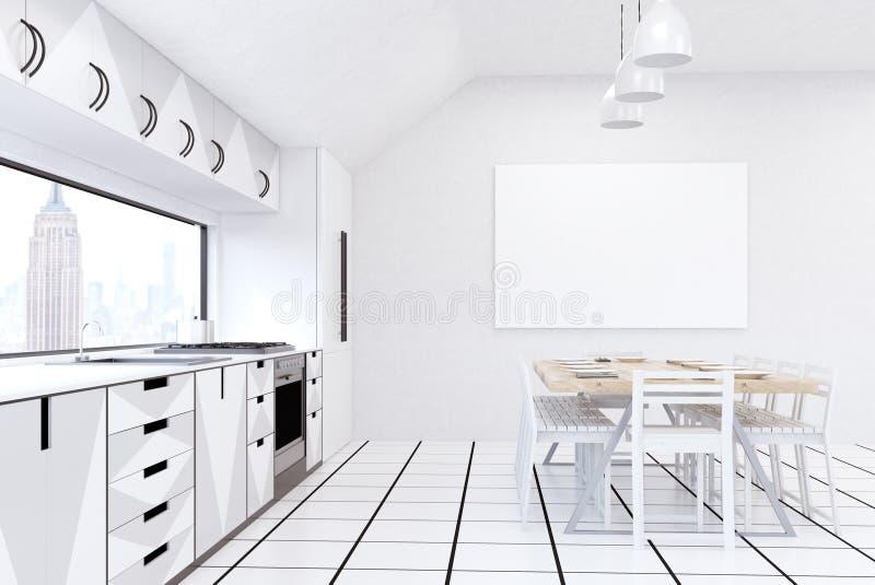 Cocina Con El Refrigerador, El Aparato De TV Y Muebles Grises En ...