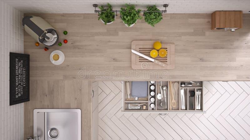 Cocina con las herramientas de la cocina, diseño interior foto de archivo