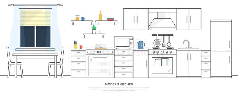 Cocina con muebles Interior de la cocina con la tabla, la estufa, el armario, los platos y el refrigerador Ejemplo plano del vect ilustración del vector