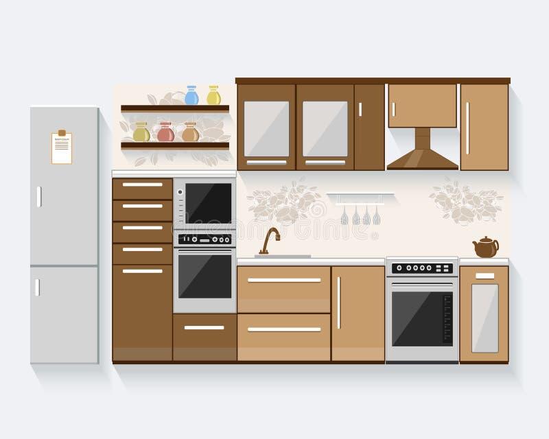 Cocina con muebles y sombras largas ejemplo plano del for Planos y diseno de muebles