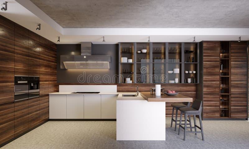 Cocina contemporánea de madera oscura moderna interior con los gabinetes de cristal, los muebles y el equipo libre illustration