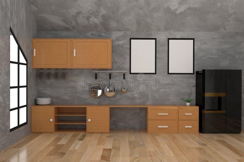 Cocina Contemporánea En Diseño Interior Del Sitio Concreto En La ...