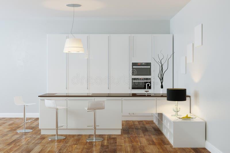 Cocina de alta tecnología de lujo blanca con la barra (Front View) imagenes de archivo