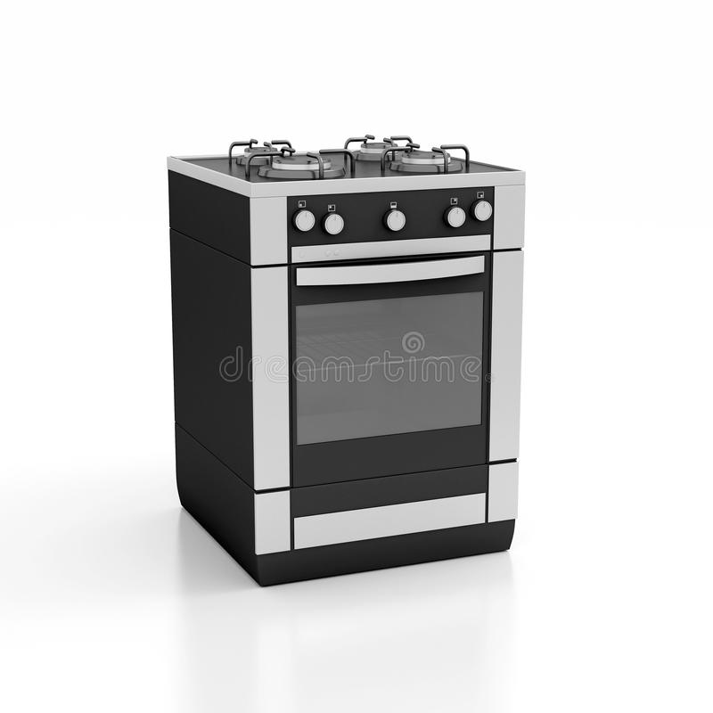 Cocina de gas blanca sobre imagen de archivo libre de regalías