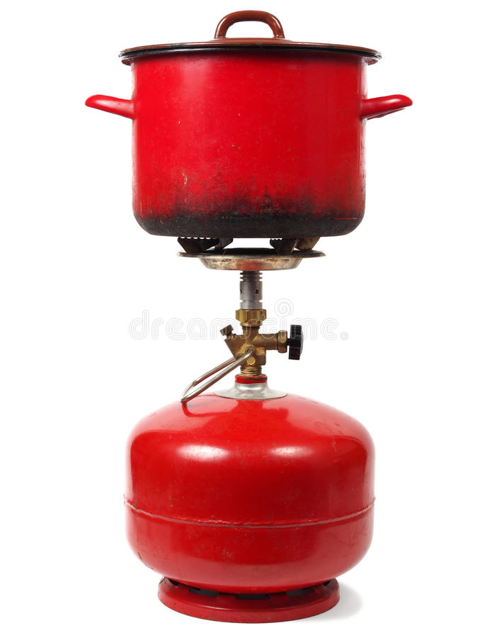 Cocina de gas que acampa foto de archivo