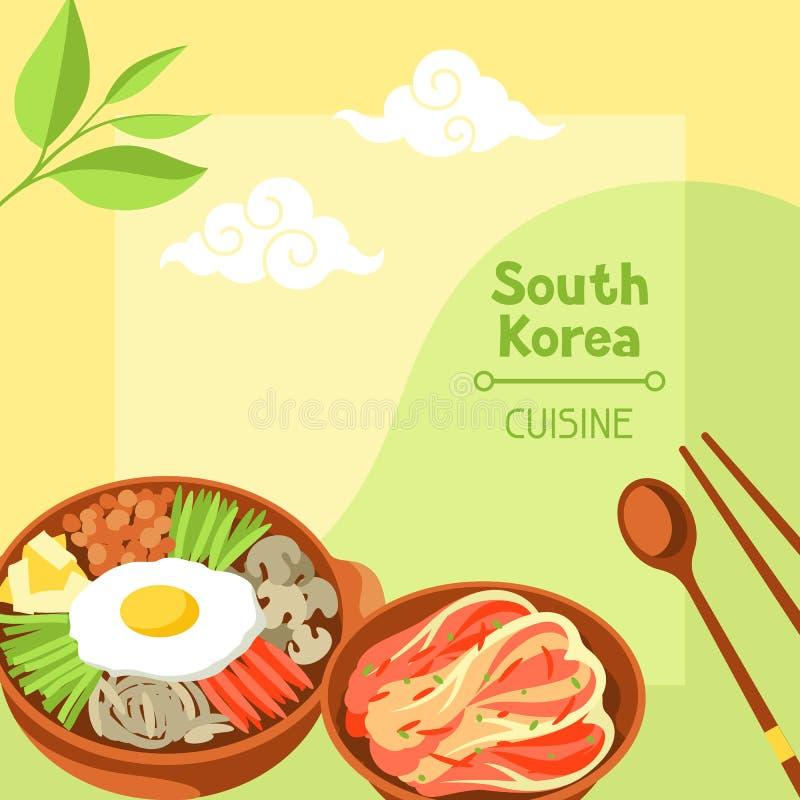 Cocina de la Corea del Sur Diseño coreano de la bandera con símbolos y objetos tradicionales libre illustration