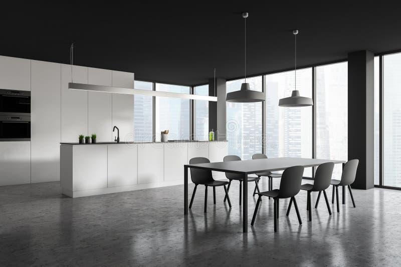 Cocina de la esquina moderna del estilo interior en rascacielos stock de ilustración