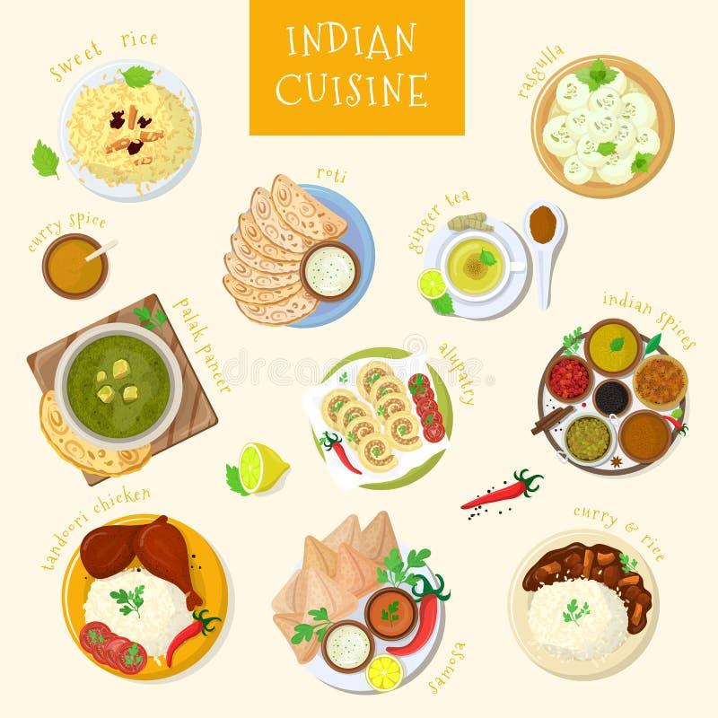 Cocina de la India del vector de la comida y masala indios de los platos del asiático con el sistema picante del ejemplo del poll libre illustration