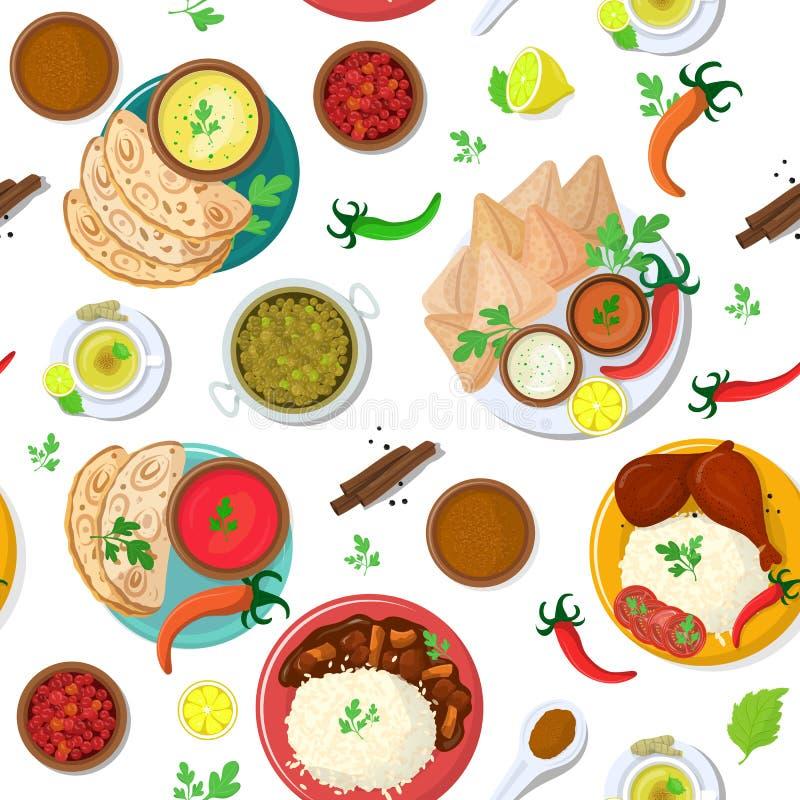 Cocina de la India del vector de la comida y masala indios de los platos del asi?tico con el sistema picante del ejemplo del poll stock de ilustración
