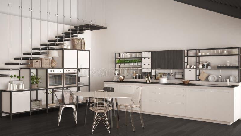Cocina de madera blanca y gris minimalista, desván con las escaleras, clas libre illustration