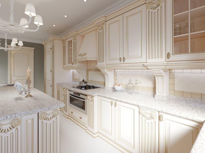 Cocina de madera clásica con los detalles de madera, diseño interior de lujo beige libre illustration