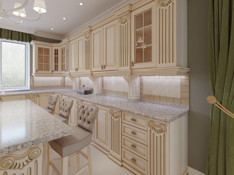 Cocina de madera clásica con los detalles de madera, diseño interior de lujo beige stock de ilustración