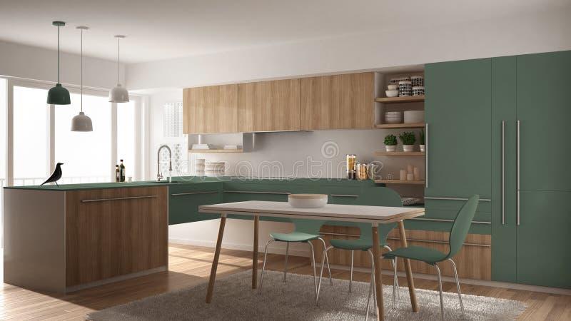 Cocina de madera minimalistic moderna con la mesa de comedor, la alfombra y el interior panorámico de la ventana, blanco y verde  libre illustration