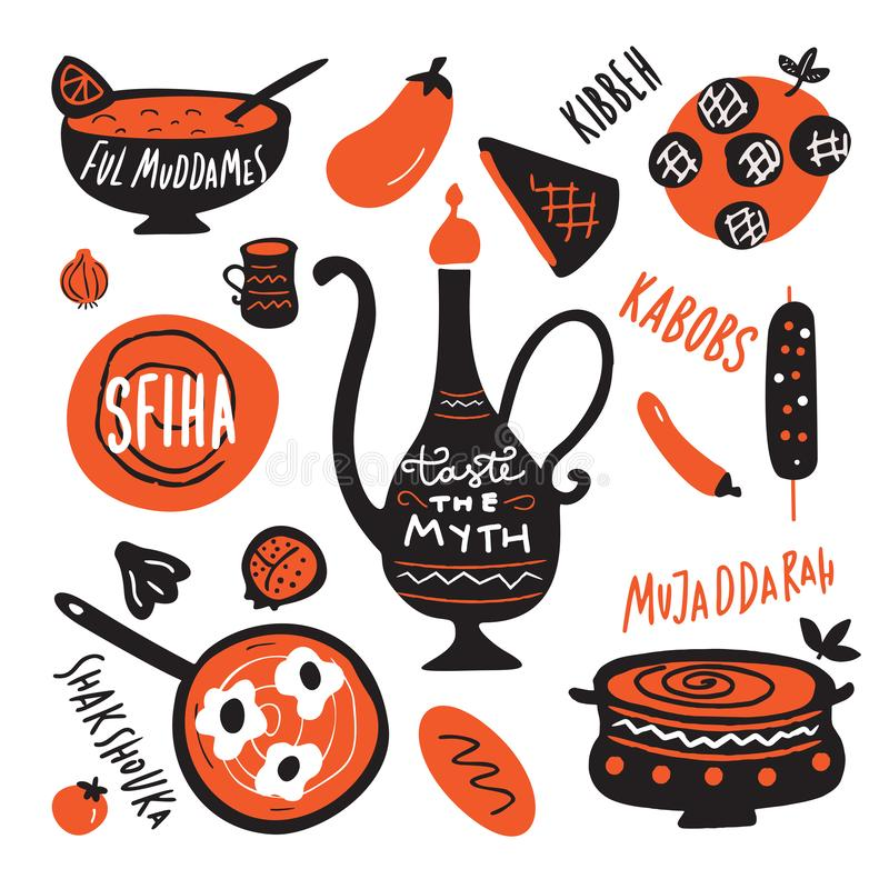 Cocina de Oriente Medio Pruebe el mito Ejemplo de la mano divertida y nombres exhaustos de los platos hechos en vector stock de ilustración
