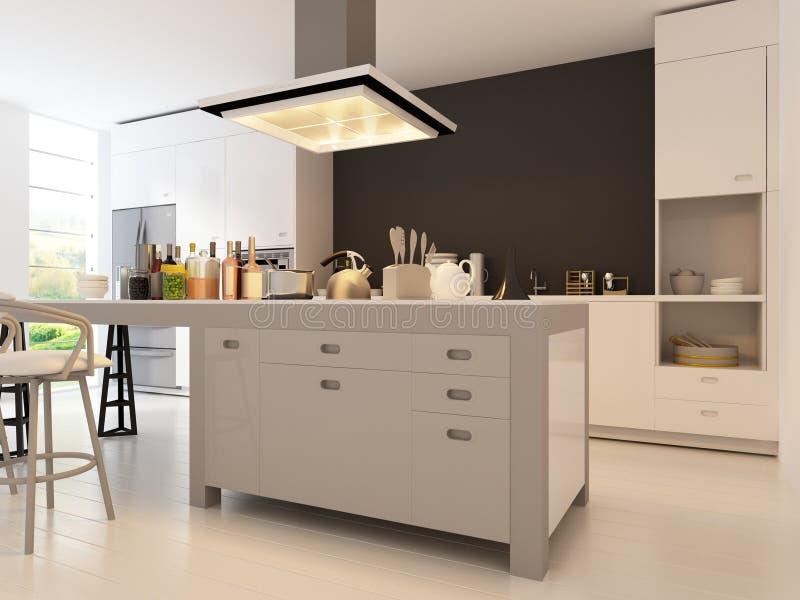 Cocina del diseño moderno | Arquitectura interior ilustración del vector