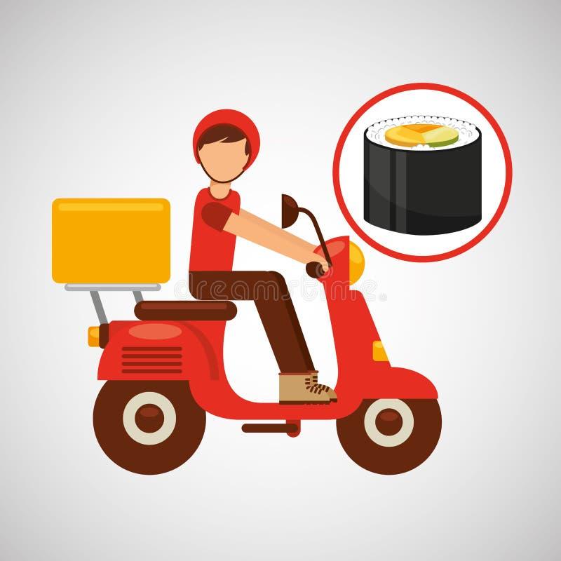 Cocina del japonés de la motocicleta del paseo del muchacho de entrega libre illustration