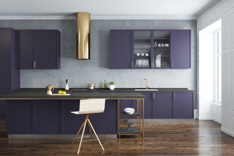 Cocina Del Muro De Cemento, Encimeras Púrpuras Stock de ilustración ...