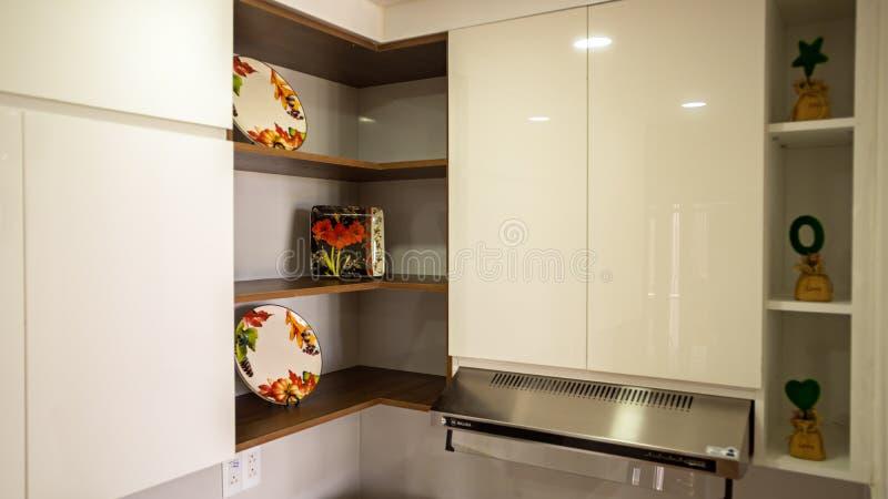 Cocina en el diseño del hogar de arquitectura imagenes de archivo