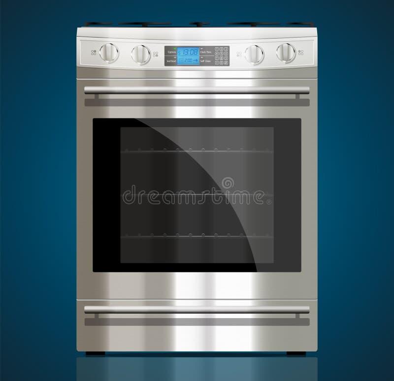 Cocina - estufa de gas ilustración del vector
