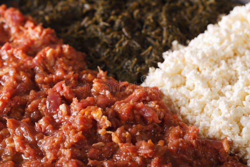 Cocina etíope: kitfo con las hierbas y el queso una macro horizont imagen de archivo libre de regalías